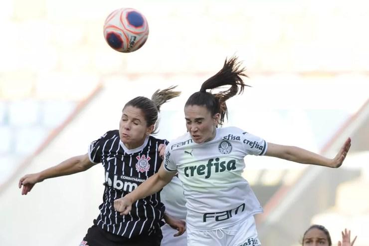 Dérbi entre Corinthians e Palmeiras pelo Paulistão Feminino — Foto: Rodrigo Corsi/FPF