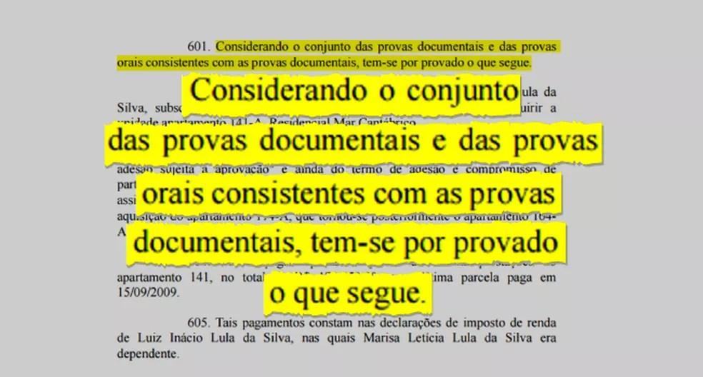 Destaque da sentença que condenou Lula na Lava Jato (Foto: Arte/G1)