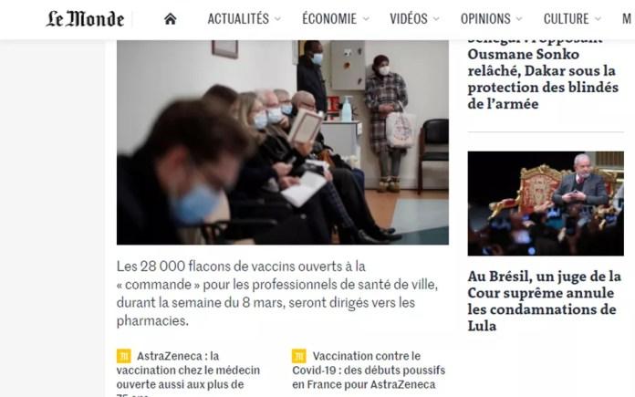 Anulação da condenação de Lula foi noticiada pelo francês'Le Monde' — Foto: Reprodução/Le Monde
