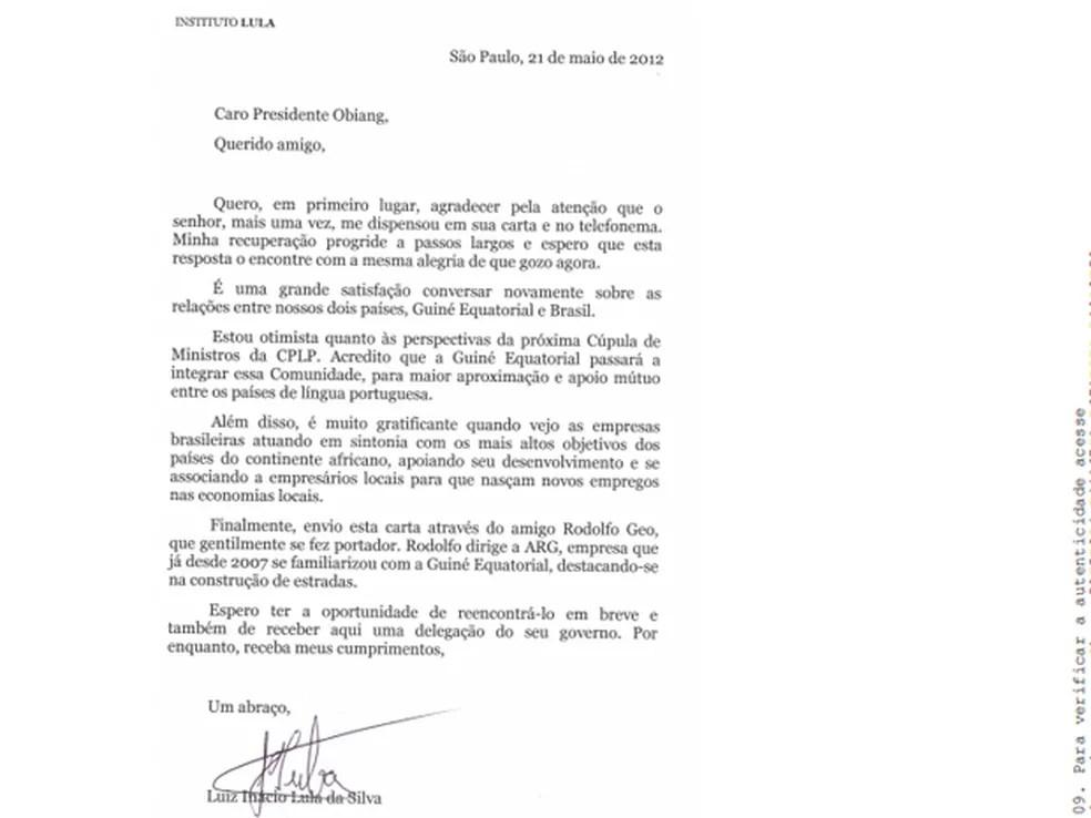 Carta de Lula para presidente da guiné Equatorial — Foto: Reprodução/Ministério Público Federal