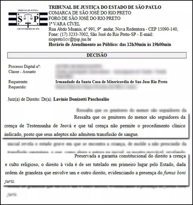 Trecho da decisão que garantiu à Santa Casa de Rio Preto o direito de fazer transfusão de sangue em um bebê de família Testemunha de Jeová (Foto: Reprodução)