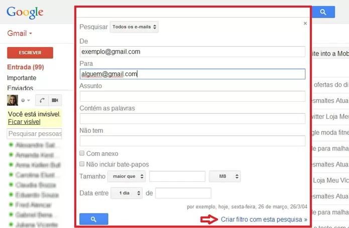 Especificações de filtro no Gmail  (Foto: Foto: Reprodução/ Marcela Vaz)