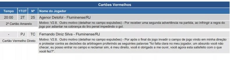 Fernando Diniz recebeu cartão vermelho — Foto: Reprodução