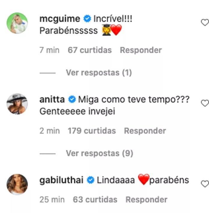 MC Guimê e Anitta parabenizam Lexa  — Foto: Reprodução/Instagram