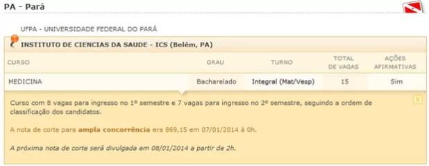 Site do Sisu mostra a nota de corte do curso de medicina da Universidade Federal do Pará (Foto: Reprodução/Inep)