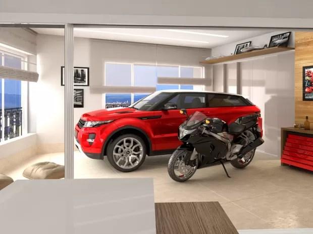 Prédio terá elevador para carros e vaga na sala dos apartamentos, em Goiânia (Foto: Divulgação/Terral)