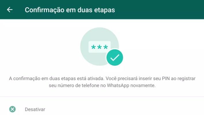 Configuração da confirmação em duas etapas no WhatsApp. — Foto: Reprodução