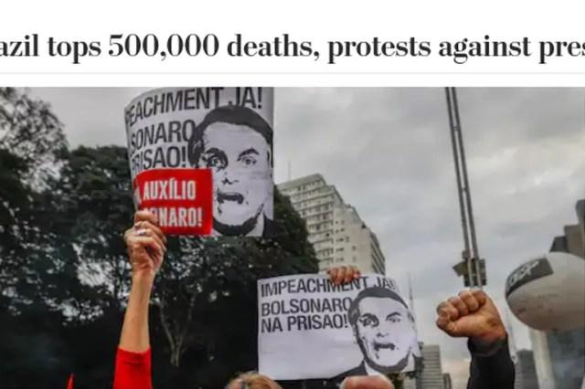 The Washington Post mostra como manifestantes foram às ruas em diversas cidades do Brasil no dia em que o Brasil chegou a 500 mil mortes por covid-19. — Foto: Reprodução.