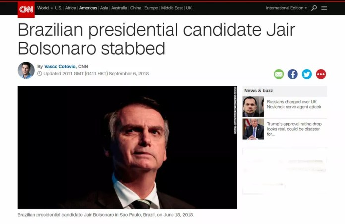 Site da emissora CNN tem matéria sobre agressão a Bolsonaro (Foto: Reprodução/CNN)