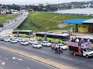 Carreata taxistas (Foto: Sérgio Leite / TV Globo)
