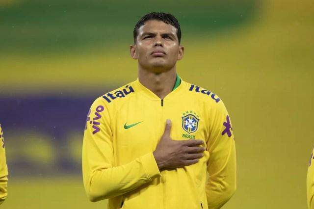 Thiago Silva na estreia do Brasil contra a Bolívia: ele vai ser novamente o capitão da Seleção — Foto: Luca Figueiredo / CBF