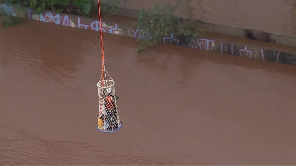 Bombeiros resgatam mulher e crianças que estavam ilhados em alagamento em São Caetano do Sul — Foto: Reprodução TV Globo