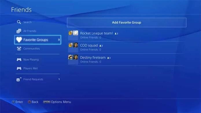 Grupos de amigos melhorados no PS4 (Foto: Divulgação/Sony)