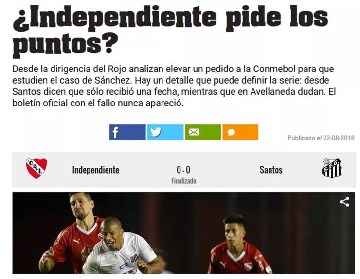 """Caso Sánchez é destaque no site do diário argentino """"Olé"""" (Foto: Reprodução)"""