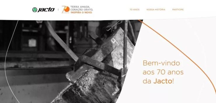 Jacto lançou um hotsite em comemoração aos seus 70 anos (Foto: Jacto Agrícola/Divulgação)