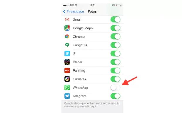 Desativando o WhatsApp das configurações de privacidade para fotos do iPhone