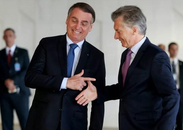 O presidente Jair Bolsonaro recebe o argentino Maurício Macri no Palácio do Planalto — Foto: Ernesto Rodrigues/Estadão Conteúdo