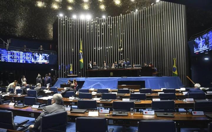 Plenário do Senado durante sessão no último dia 18 de dezembro — Foto:  Jefferson Rudy/Agência Senado