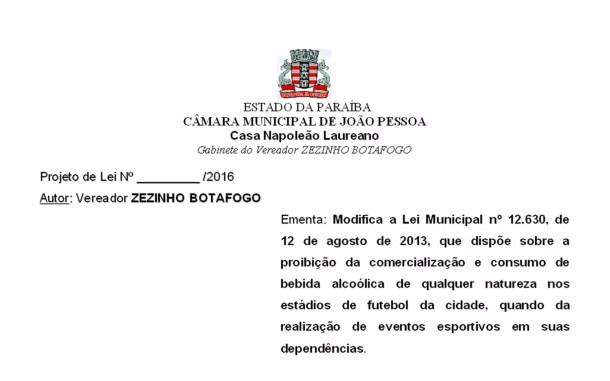Projeto de Lei modifica uma lei anterior que previa a proibição da comercialização de bebida nos estádios de João Pessoa (Foto: Reprodução/Sistema de Apoio ao Processo Legislativo/CMJP)