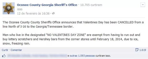Moradores ficaram confusos (e revoltados) com o aviso de que o Dia dos Namorados havia sido cancelado na região (Foto: Reprodução/Facebook/Oconee County Georgia Sheriff's Office)