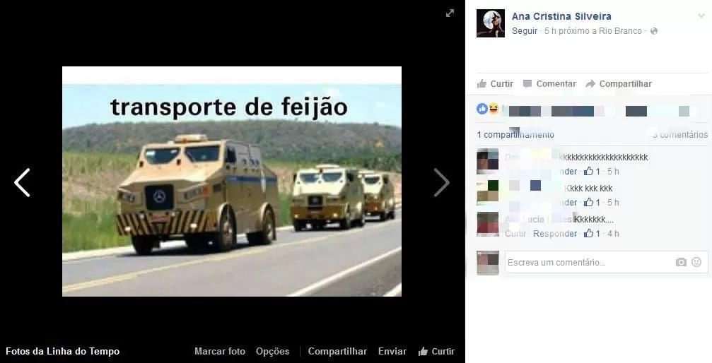 Em meme, internautas dizem que feijão deve ser transportado por carros-fortes após reajuste (Foto: Reprodução/Facebook)