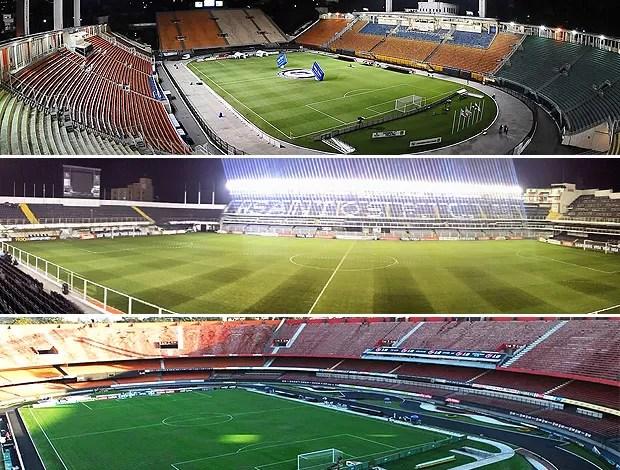 montagem Pacaembu, Vila Belmiro e Morumbi estádios vazios (Foto: Editoria de Arte / Globoesporte.com)