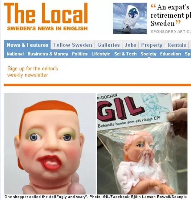A boneca feita pela GIL, cooperativa que presta assistência a pessoas com deficiência mental (Foto: Reprodução / The Local)