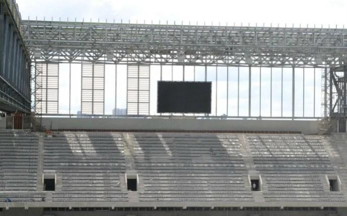 Telão foram instalados rapidamente (Foto: Divulgação/Site Oficial do Atlético-PR)