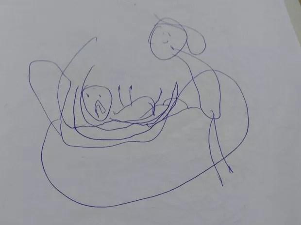 Outro desenho feito pela menina de cinco anos (Foto: Michelly Oda/G1)