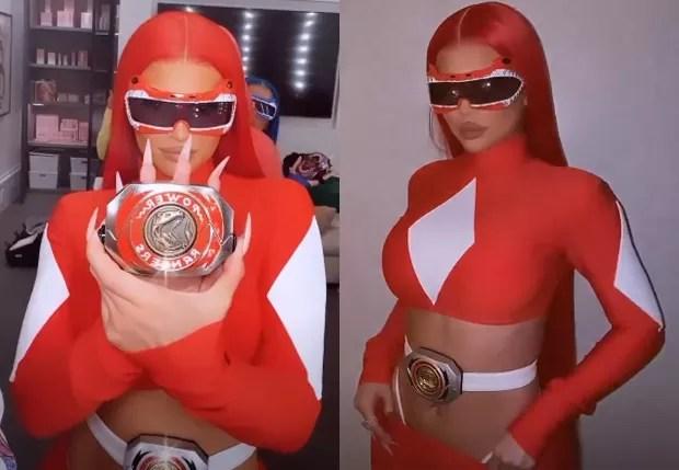 Kylie Jenner de Power Ranger pro Halloween (Foto: Reprodução/Instagram)