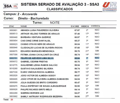 Adolescente conquistou a 1ª colocação do curso de direito em Arcoverde (Foto: Reprodução/UPE)