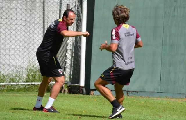 Rogério Ceni e Lugano durante testes na pré-temporada do São Paulo (Foto: Érico Leonan / saopaulofc.net)