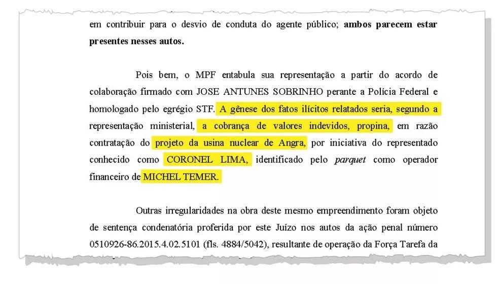 Trecho do inquérito com pedido de prisão de Michel Temer cita propina envolvendo o projeto da usina nuclear de Angra — Foto: Reprodução