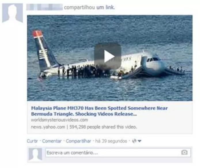 Vídeo sobre descoberta do avião desaparecido é vírus. (Foto: Reprodução/Facebook)