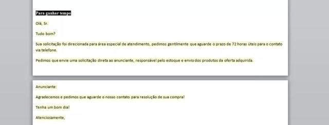 Manual orienta funcionários do site Pank a 'enrolar' clientes insatisfeitos (Foto: Reprodução)