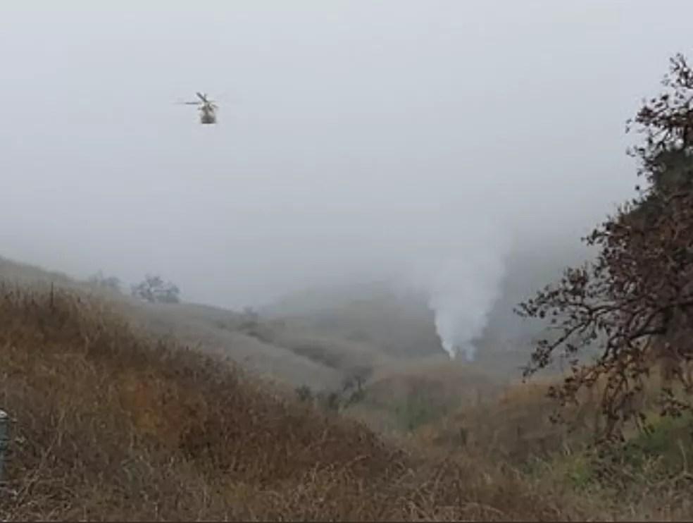 Imagens do acidente que matou o astro Kobe Bryant, em Calabasas, Califórnia — Foto: Departamento de Polícia Los Angeles