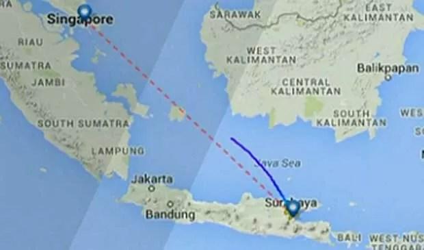 Mapa da rota e suposto local do desaparecimento do voo QZ-8501 da AirAsia. (Foto: Reprodução / GloboNews)