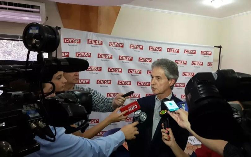 José Nunes Filho, diretor titular do Ciesp Campinas, durante entrevista (Foto: Luciano Calafiori/G1)