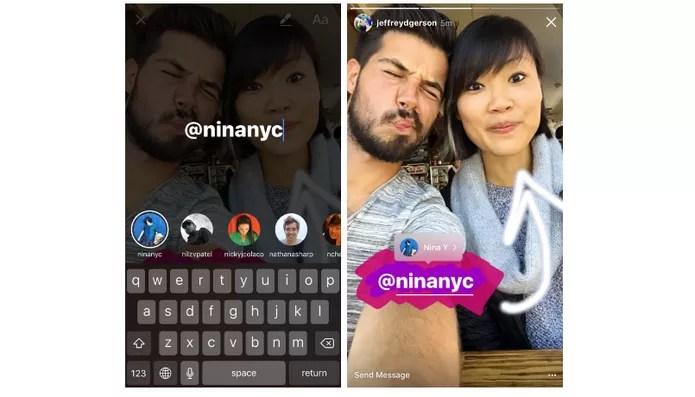 Agora você pode mencionar pessoas nas suas fotos do Instagram Stories (Foto: Divulgação/Instagram)