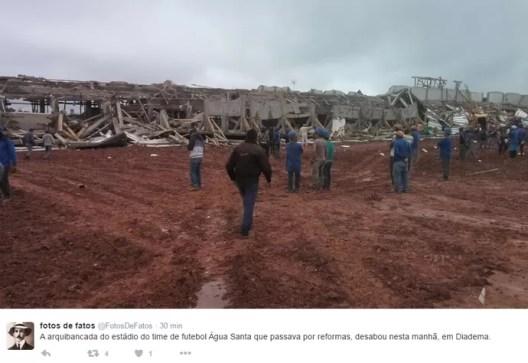 Fotos da estrutura que desabou em Diadema (Foto: Twitter @FotosDeFatos)
