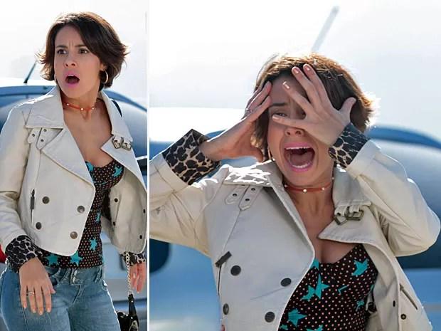 Valéria se desespera ao ver carro indo em sua direção (Foto: Amor Eterno Amor/TV Globo)