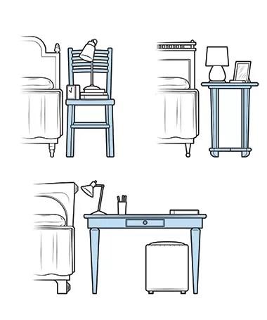 Fuja do convencional na hora de escolher um criado-mudo (Foto: Ilustração Evandro Bertol)