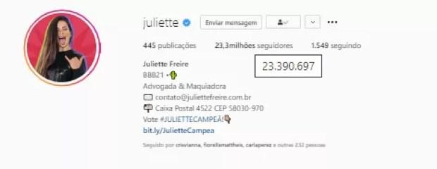 Número de seguidores de Juliette Freire (Foto: Reprodução/Instagram)
