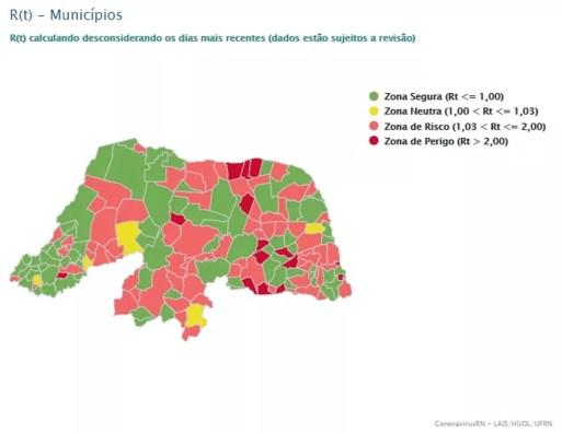 Número de cidades com Rt maior que 1 diminuiu no RN — Foto: LAIS