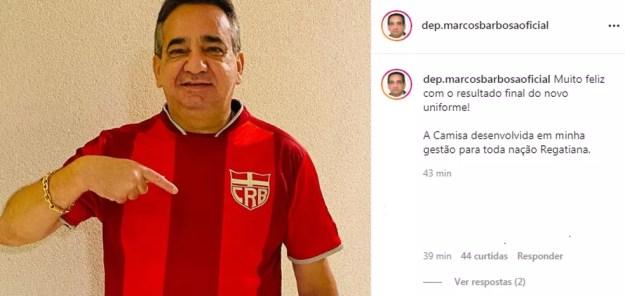 Ex-presidente do CRB, Marcos Barbosa tirou foto com a nova camisa e postou no Instagram — Foto: Reprodução Instagram