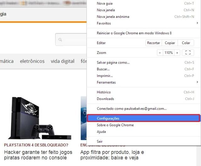 Vá nas configurações do Chrome para apagar extensões maliciosas (Foto: Reprodução/Paulo Alves) (Foto: Vá nas configurações do Chrome para apagar extensões maliciosas (Foto: Reprodução/Paulo Alves))