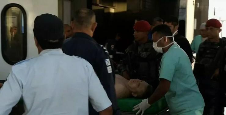 Alemão foi levado para o IJF após ser atingido durante tentativa de fuga no Ceará (Foto: Reprodução/TVM)