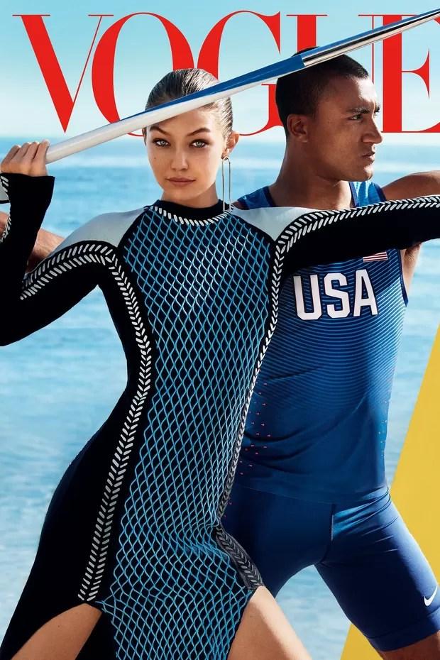 Gigi Hadid e Ashton Eaton na Vogue US de agosto 2016 (Foto: Mario Testino)