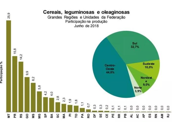 Proporção da produção em junho de 2018  (Foto: Reprodução/IBGE)