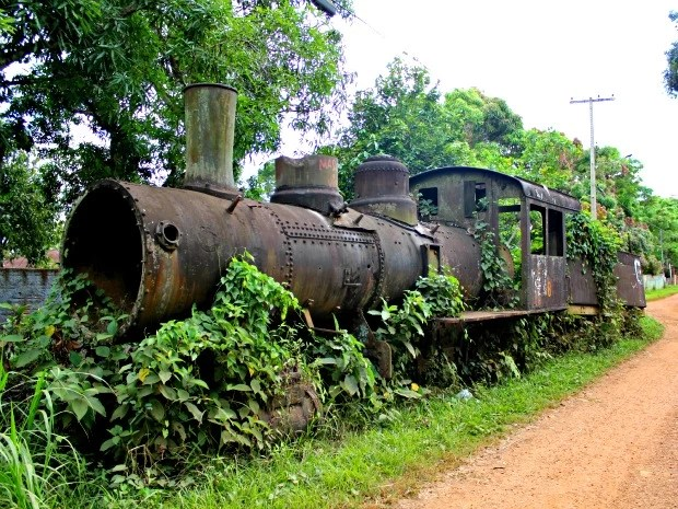 Locomotivas que foram abandonadas ao longo dos trilhos da Estrada de Ferro Madeira-Mamoré, em Porto Velho, serão revitalizados (Foto: Halex Frederic/G1)